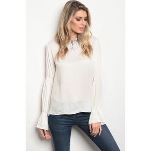 Off-White Cuffed Bell Sleeves Ruffled Top